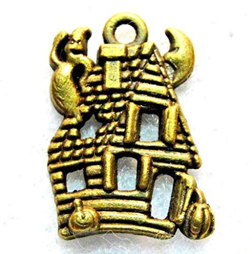 50Pcs. Wholesale Tibetan Ant. Bronze Halloween Haunted House Ghost Charms Q1268 Crafting Key Chain Bracelet Necklace Jewelry Accessories Pendants