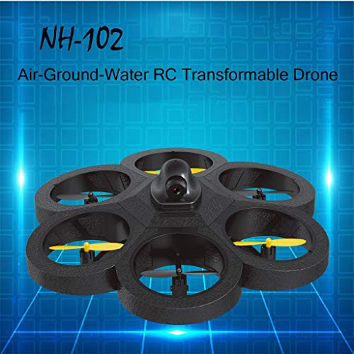 Wenjuan 2019 Newest RC Drone Quadcopter with HD Camera, Air-Ground-Water Transformable 3in1 Remote Control Drone Car Boat - Creative Flying Toys Gift for Kids Boys Girls ()
