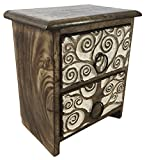 Cheap Handcrafted Tree of Life Set of Carved Wood Drawers Chest Decorative Storage Box 2D-01