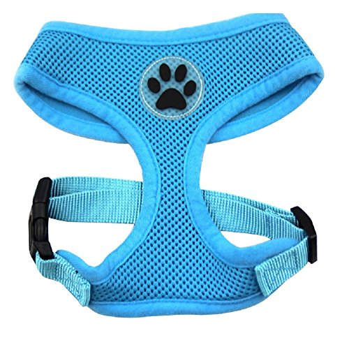 BINGPET BB5001 Soft Mesh Dog Harness Pet Walking Vest Puppy Padded Harnesses Adjustable, Blue Small