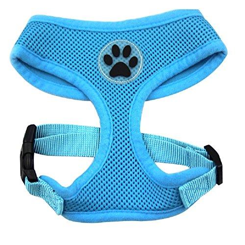 (BINGPET BB5001 Soft Mesh Dog Harness Pet Walking Vest Puppy Padded Harnesses Adjustable, Blue Extra Small)
