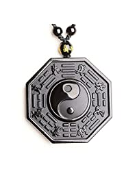 ZTAN Natural Tai Chi Engraving Black Obsidian Crystal Stones Pendant Necklace with Extend Bead Chain for Men Or Women