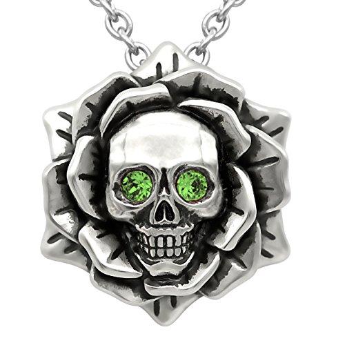 - Skull Rose Birthstone Necklace With Swarovski Crystal 17