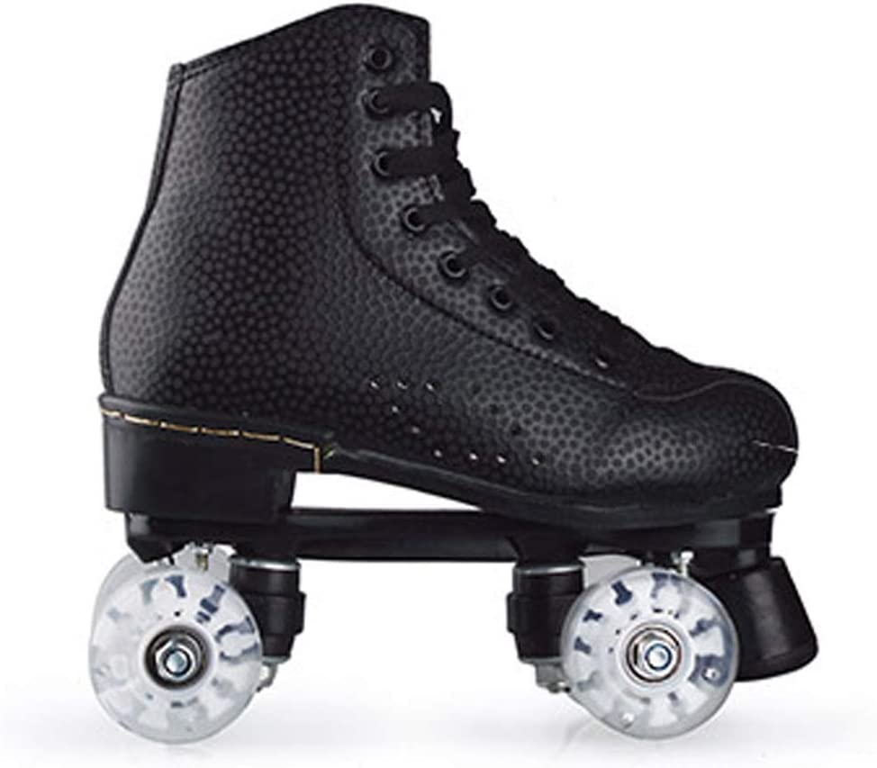 Womens Canvas Roller Skates Light Up Wheels Roller Skate Double Row Roller Skates Fun for Girls Adults Men Boys and Ladies Unisex with Carry Bag