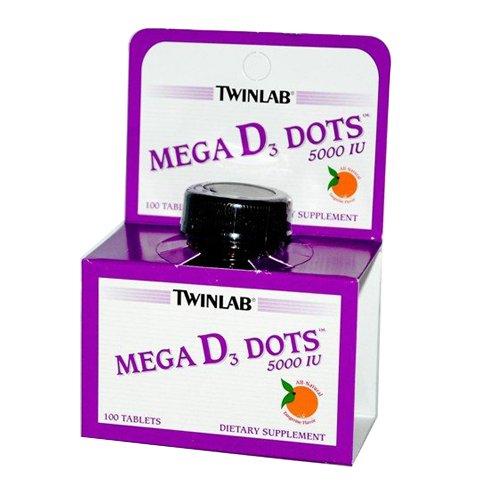 Twinlab Mega D3 Dots Tangerine 5000 IU Tablets, 100 Count