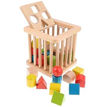 B Blesiya Caja de Madera Juguete Aprendizaje Geométrico Montessori ...