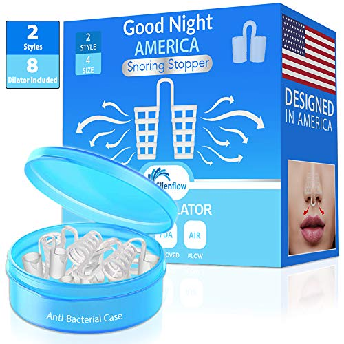 SilenFlow 8 Nose Vents New 2019 - Say Goodbye to Snoring - Snoring Solution Anti Snore Devices Snore Stopper Sleep Apnea Aids for Men & Women Nasal Dilator - Stop snoring clippy clipple Mute snoring