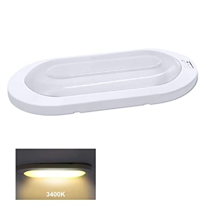 Facon LED RV Bright Pancake Light Surface Mount Ceiling Dome Light, 12 Volt Interior Light with On/Off Switch for RV Motorhomes Camper Caravan Trailer Boat: Automotive