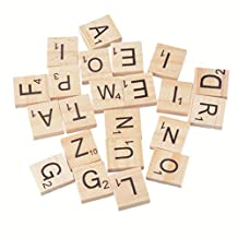 1Packet Natural Color Alphabet Letters & Numbers Wooden Scrabble Tiles Game Replacement 18x20mm