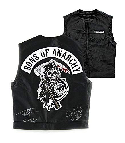 Tommy Flanagan & Ryan Hurst Autographed/Signed Officially Licensed Sons of Anarchy Black Biker Vest with