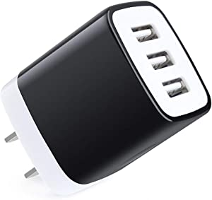 Charging Block,Sicodo 3Port Travel Wall Charger Universal Mutilple Port Adapter 5V/3.1A Fast USB Charger Cube Compatible with iPhone X/8/7/6s/6 Plus,iPad Pro/Air 2/Mini 4,GalaxyS10/S9/S8/S7 and More