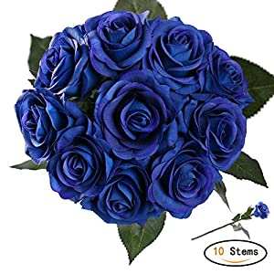 StarLifey Artificial Flowers Real Touch Blue Rose Wedding Bouquet Silk Roses Posy Valentine's Day/Wedding/Home Decorations Pack of 10 44