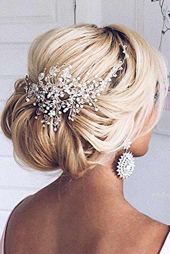 - Kercisbeauty Handmade Bridal Bridesmaids Rhinestones Flower Side Headband Vine Spring Headpiece Hair Vine Bridal Accessories Super Flash Party Accessories,Rustic Wedding (Gold)