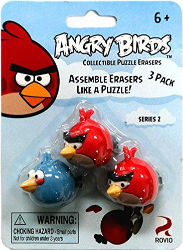 Bird Eraser - Eraseez Collectible Puzzle Eraser 3Pack Angry Birds 2 Red 1 Blue
