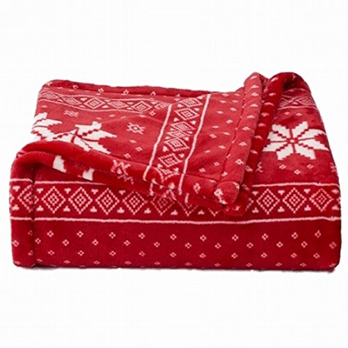The Big One Plush Soft Red Nordic Snowflake Oversized Microplush Throw Blanket