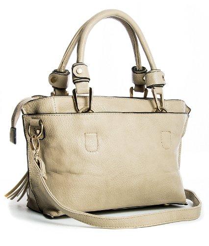 Big Handbag Shop - Bolso estilo cartera para mujer One Beige Claro