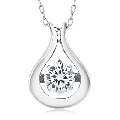 eb09a77d63d Amazon.com: 925 Sterling Silver Solitaire Pendant With 18