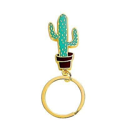 Dosige 1 Piezas Lindo llavero de cactus anillo creativo exquisita planta carnosa llavero colgante de dibujos animados de metal Dibujos Animados Llavero Colgante Personalidad de la Moda Llavero 4*1.3*3cm: Juguetes y juegos