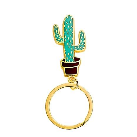 lumanuby 1 x Cactus llavero creativa exquisita planta carne Cartoon cadena colgante de metal llavero llavero Decoración del ...