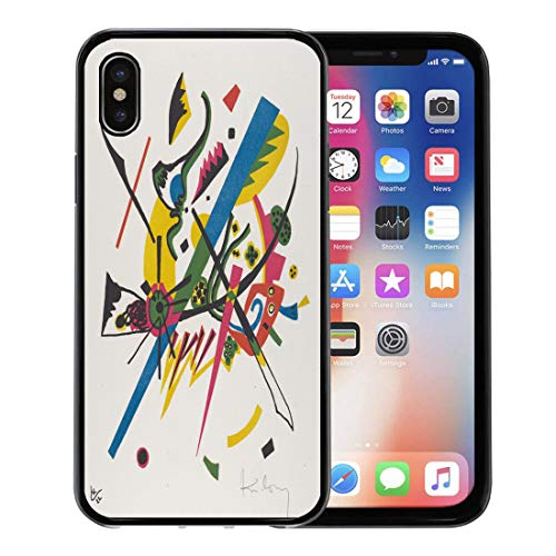 Semtomn Phone Case for iPhone Xs case,Kleine Welten I by Vasily Kandinsky 1922 Russian German Expressionist This Lithograph was in The Artists for iPhone X Case,Rubber Border Protective Case,Black