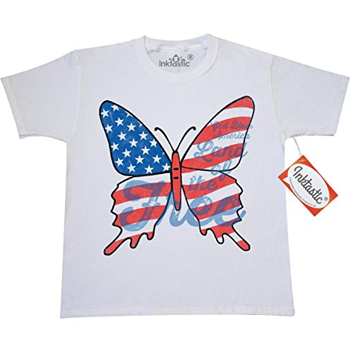 Inktastic Big Girls' Patriotic Butterfly Youth T-Shirt Youth Small (6-8) White
