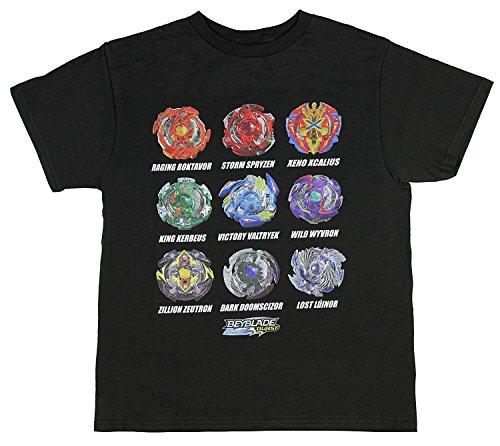 Beyblade Burst Boys' Spinner Tops T-Shirt (Medium) Black