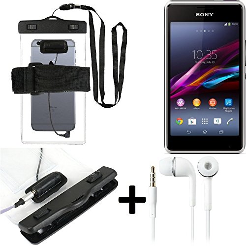 Estuche estanco al agua con entrada de auriculares para Sony Xperia E1 + auricular incluido, transparente | Trotar bolsa de playa al aire libre caja brazalete del teléfono caso de cáscara bajo playa -