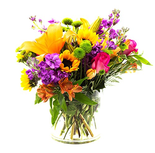 FLWERZ [Botanical Blossoms] Natural Beautiful Hand-crafted Colorful Springtime Mother's Day Bouquet with 8oz clear Glass Vase