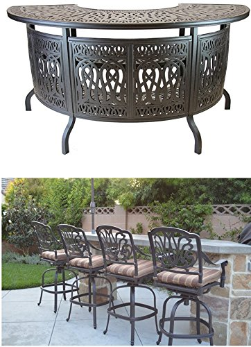 Elizabeth Outdoor Patio 5pc Party Bar Set Cast Aluminum Dark Bronze (Sunbrella Sesame cushions) by Patio Land