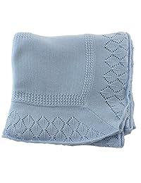 Boys Blue Cotton Knit Shawl Baby Christening Baptism Blanket Sarah Louise