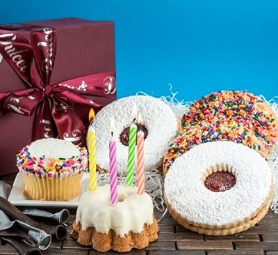Dulcet Happy Birthday Gift Basket-Vanilla Sprinkled Cupcake, Lemon Bunt, Sugar Cookies, Linzer Tart Cookie,. Birthday Candles! Best Gift Idea!