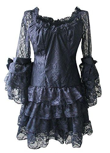 Gothic Dress Shirts (Gothic Dress Shirt Tutu Lace Black Lolita Costume Victorian Blouse (L))