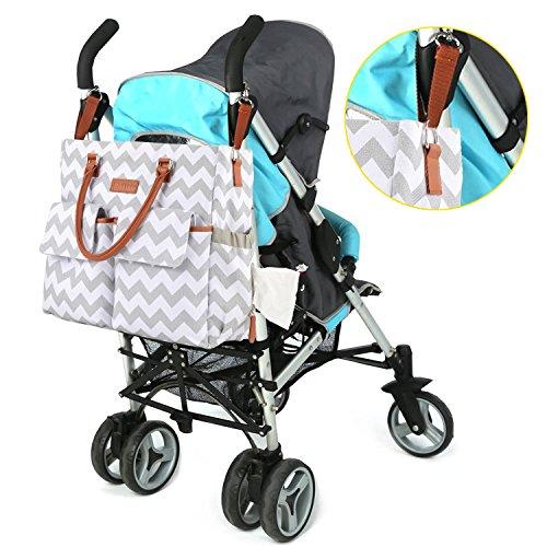 Kattee bebé pañales bolsa de lona bolso de hombro con cambiador y soporte para botellas