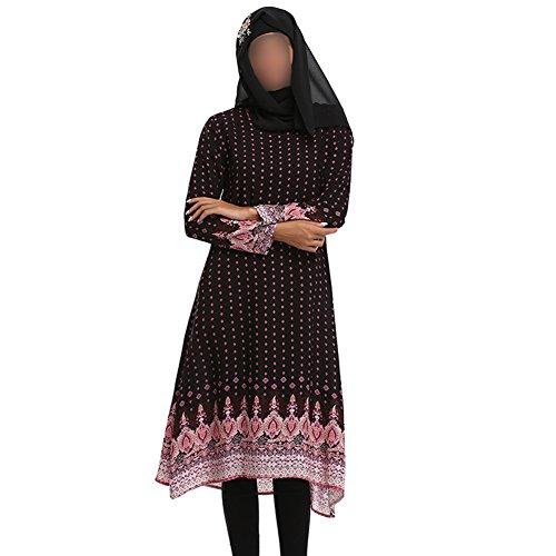 árabeia Oración Saudita Impresión 079 Mujer Robe Chicas Ramadan musulmán larga Deylaying Negro Étnico Iglesia Abaya Kaftan islámico Vestido Dubai Manga Vestir Apparel para fwq0w1Wvz