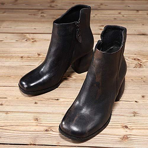 talons femmes vintage à glissière pour Zpedy confort noire personnalité bottines fermeture chaussures hauts tHFgwgq