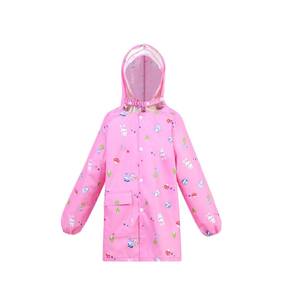 grand Manteau à capuchon imperméable fille bébé enfant Manteau imperméable pour enfants Zipper Manteau imperméable pour bébé élèves de l'école primaire Poncho sac rose Caot de pl