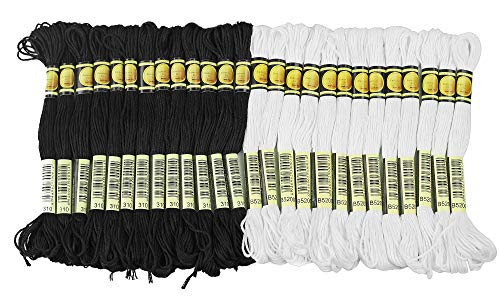 - ThreadNanny Black and White Hand Embroidery Cross Stitch Threads Floss/skeins 24 of each color