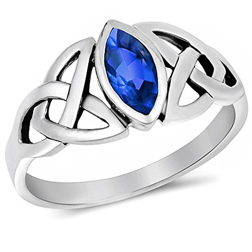 MARQUISE CUT Simulated Sapphire .925 Sterling Silver Ring Size 10