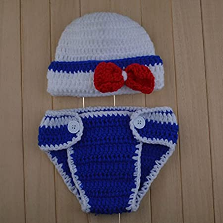 neaer ganchillo recién nacido azul marino Sailor sesión de fotos ...