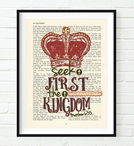 Seek first the Kingdom - Matthew 6:33 Vintage Bible verse scripture -Christian ART PRINT, UNFRAMED, crown wall art, inspirational gift, 8x10 inches by Art for the Masses