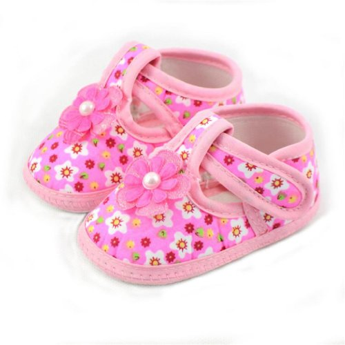 Fashionwu Pink Flower for Toddlers Newborn Baby Girls First Walking Shoes 6-9 Months