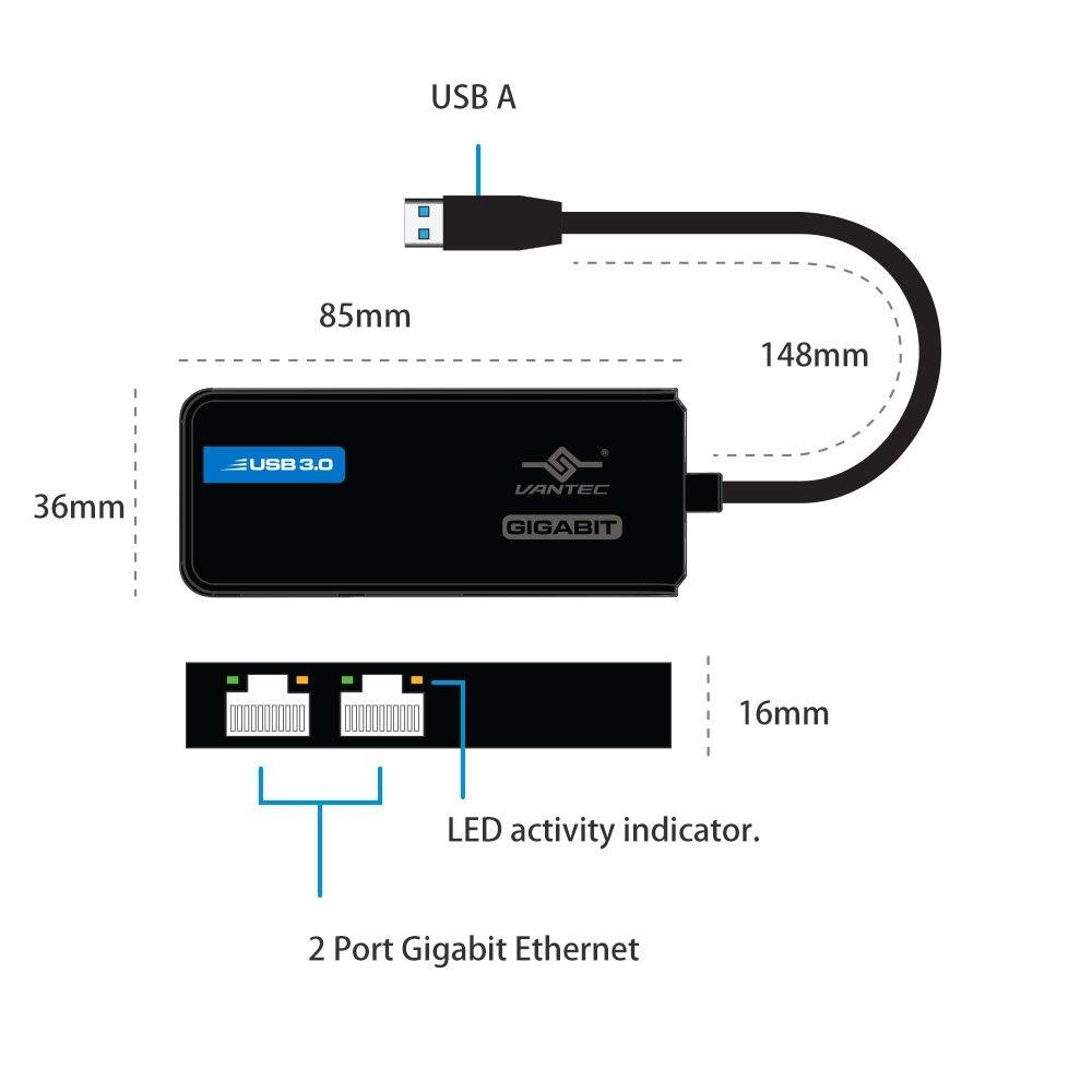 Vantec USB 3.0 to Dual Gigabit Ethernet Network Adapter (CB-U320GNA) by Vantec