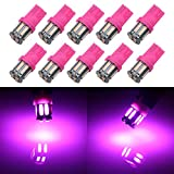 Grandview 350 Lumens Pink T10 194 168 921 W5W 7014 10-SMD LED Interior Lights Bulb Car Replacement Lights Truck License Plate Front Rear Sidemarker Light Dome Map LED Bulbs 12V DC 10-Pack