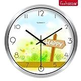 BABYQUEEN 12 Inch Creative wall Clock cute cartoon children's room bedroom ultra mute quartz clock gray