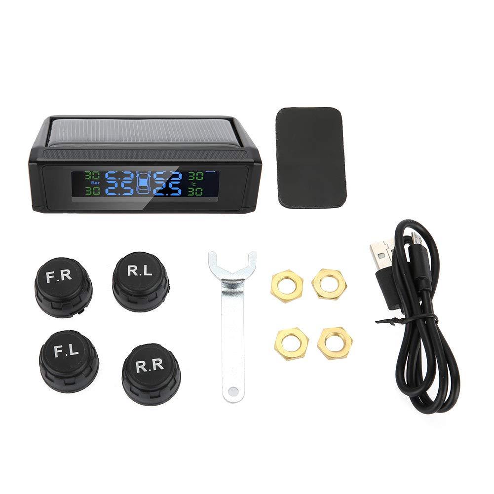 KIMISS Wireless Solar TPMS Sistema di monitoraggio della pressione pneumatici Monitor LCD Allarme con 4 sensori esterni