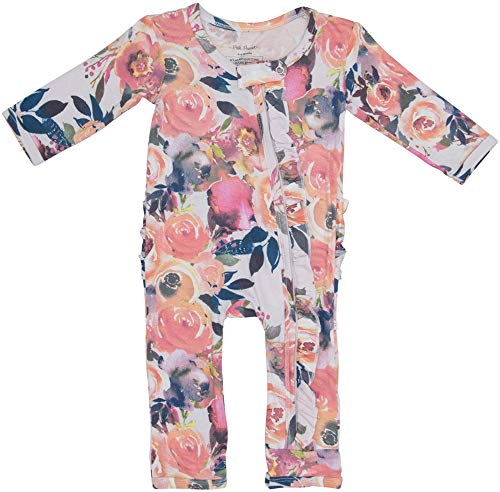Posh Peanut One Piece Baby Romper Silky Soft & Breathable - Premium Knit Infant Clothing - Bamboo Viscose (Dusk Rose, Newborn) -