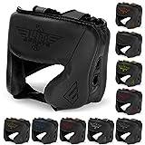 Elite Sports New Item Boxing Head Guard, Sparring Kickboxing, MMA, Muay Thai Headgear Kick Brace Head Protection (Black)