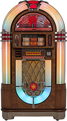 Crosley Slimline Full Size CD Jukebox with Bluetooth and Percolating Bubble Tubes – Holds 80 CDs