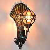 Outdoor light peacock wall lamps LED balcony retro villa garden door aisle wall lights green / gold ZA FG218 lo11 ( Size : Green )