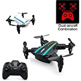 BTG JJRC H345 Dual Aircraft Combination Foldable Micro Drone Kit - Two Mini Drones with One Controller - Headless Mode, One Key Take-off/Landing/Return to Home, 3D Flips and Rolls